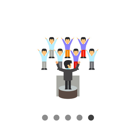performing: Leadership icon. Multicolored vector illustration of leader performing before audience Illustration