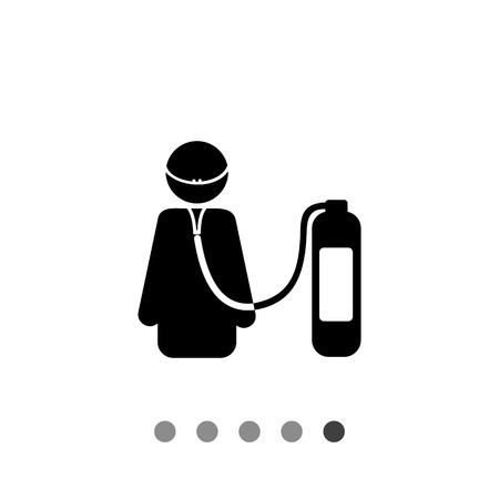 respiration: Life support simple icon. Vector illustration of female character breathing with help of artificial respiration unit Illustration