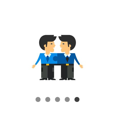 two men talking: Two men connected like puzzle elements and talking to each other. Cooperation, unity, efficiency. Team cohesion concept. Can be used for topics like business, management, banking. Illustration