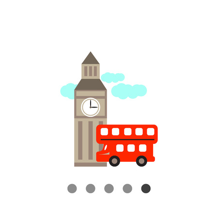 double decker: Icon of Big ben and red double decker bus