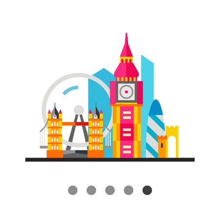 London icon. Multicolored vector illustration of London attractions