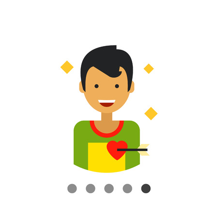 Multicolored flat icon of happy male character portrait with heart pierced with love arrow