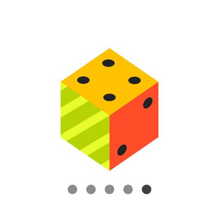 Multicolored vector icon of 3d dice representing logic concept