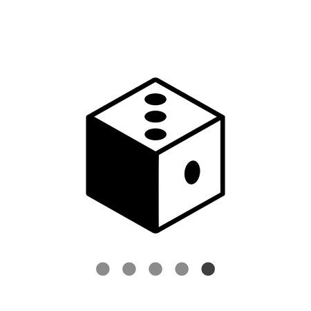 logic: Monochrome vector icon of 3d dice representing logic concept