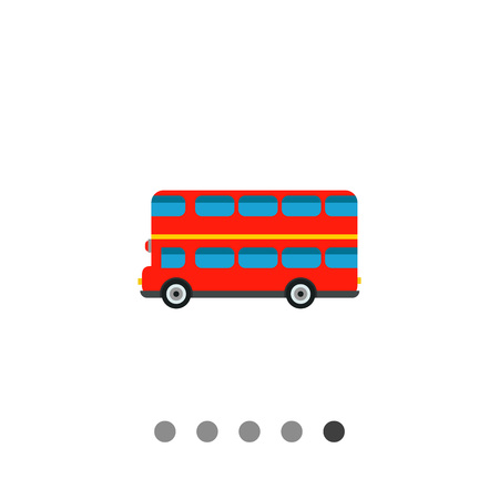 London bus flat icon. Multicolored vector illustration of double-decker bus