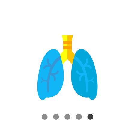 Polmoni Vector Icon. illustrazione multicolore degli organi del sistema respiratorio umano Vettoriali