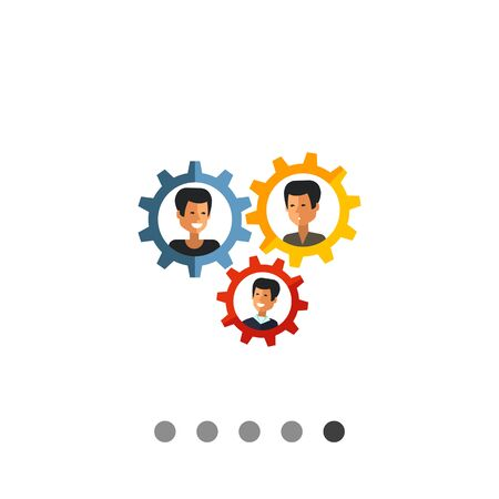 Multicolored vector icon of group of three male character portraits in gear wheels, isolated on white Illustration