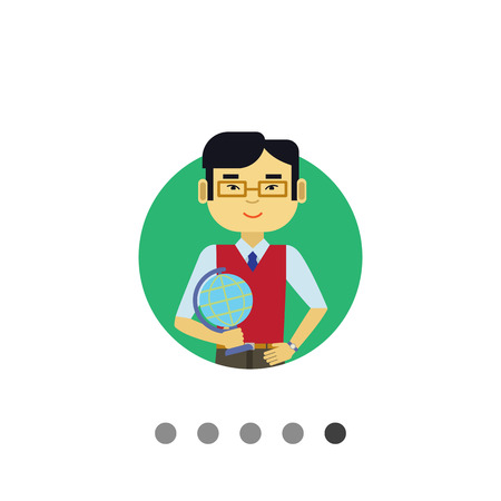 waistcoat: Male character, portrait of young Asian male teacher holding Earth globe