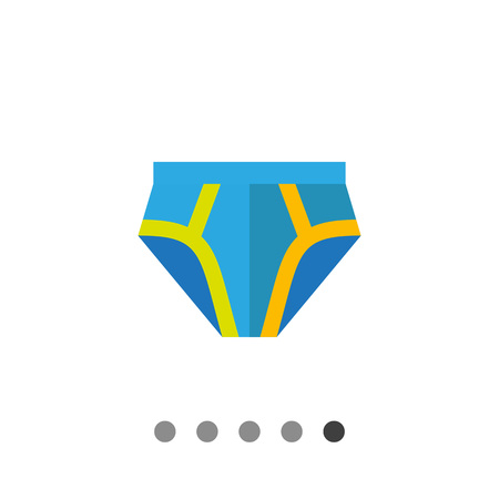underpants: Multicolored vector icon of blue male underpants with yellow stripes