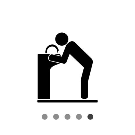 hydrate: Man drinking from drinking fountain. Thirst, water, park. Drinking fountain concept. Can be used for topics like parks, technology, marketing.