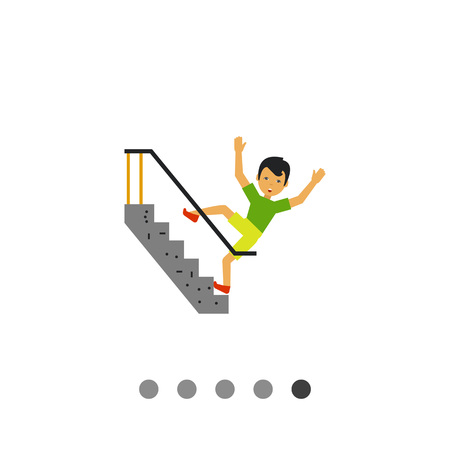 stumble: Multicolored vector icon of scared man falling on stairs