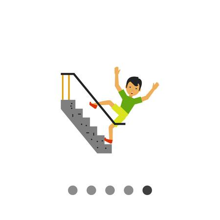 slip homme: Multicolores icône vecteur de l'homme peur de tomber dans les escaliers