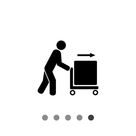 heavy: Person pushing trolley cart with box. Carriage, cargo, transportation. Carriage concept. Can be used for transportation, delivery, carriage