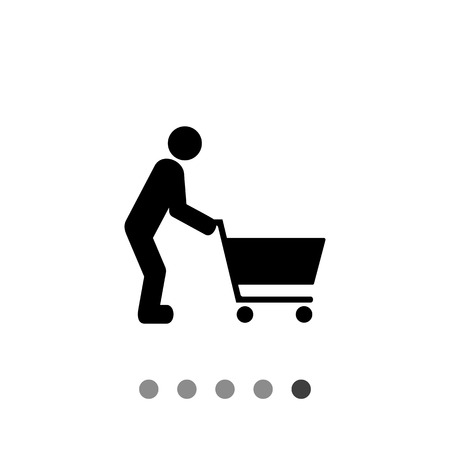 foodstuff: Man pushing shopping cart. Food, purchase, fun. Shopping concept. Can be used for topics like shopping, foodstuff, marketing. Illustration