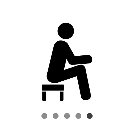 topics: Man sitting on small stool. Tired, rest, thinking. Small stool concept. Can be used for topics like furniture, interior, marketing. Illustration