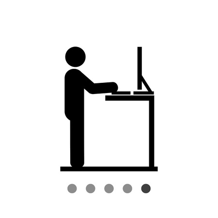 ergonomics: Man working on computer at standing desk. Workplace, creative, office. Stand work concept. Can be used for topics like business, management, ergonomics.