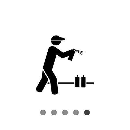 spraying: Man holding graffiti spray can and spraying. Painter, city, wall. Graffiti concept. Can be used for topics like vandalism, street art, culture. Illustration