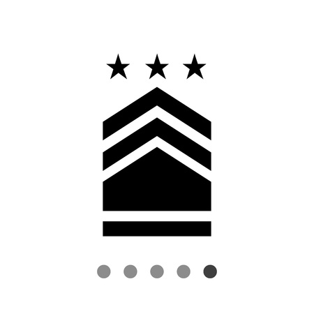 distinguishing: Military badge vector icon. Flat illustration of military badge with three stars