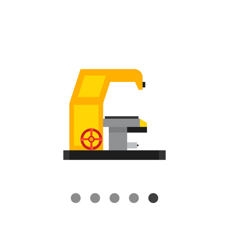 machine operator: Multicolored vector icon of milling machine with operating desk
