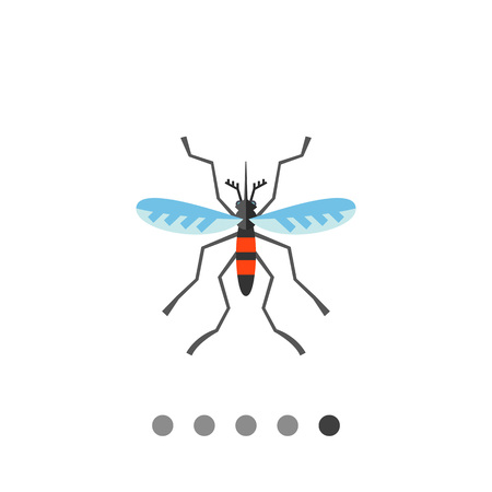 Mosquito icon. Multicolored vector illustration of mosquito, common flying insect Illustration