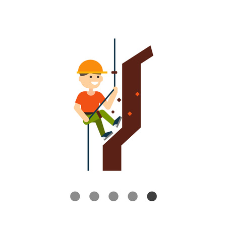 Multicolored vector icon of smiling climbing mountaineer
