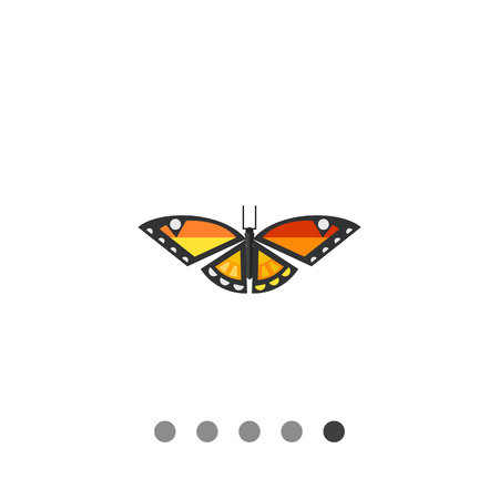 Multicolored vector icon of orange butterfly with black stripes and white spots Illustration
