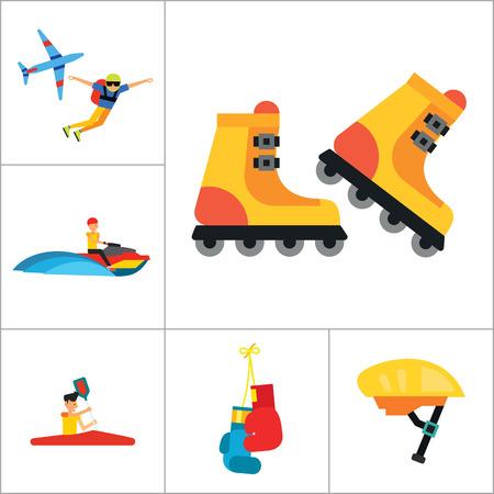 Icono Deporte ajuste activo. Esquí Guantes de voleibol de la raqueta de tenis Punchbag de carrera de caballos del salto de paracaídas Flyboard SmartWatch casco de la bicicleta de boxeo Canotaje Patinaje Jet