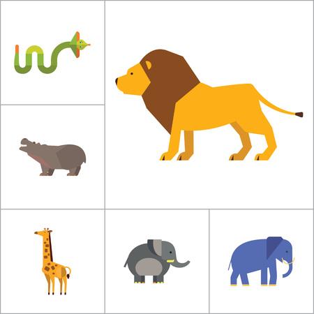 elephant angry: African Animals Icon Set. Paw Trace Zebra Lion Rhinoceros Cobra Hippopotamus Big Elephant Ox Giraffe Fat Elephant Crying Hippo Angry Cobra Young Giraffe Illustration