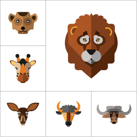 Animal Faces Icon Set. Lion Head Zebra Head Hippo Head Giraffe Head Lion Face Wolf Head Elephant Head Antelope Head Meerkat Head Doe Head Ox Face Red Lynx Head Bull Head