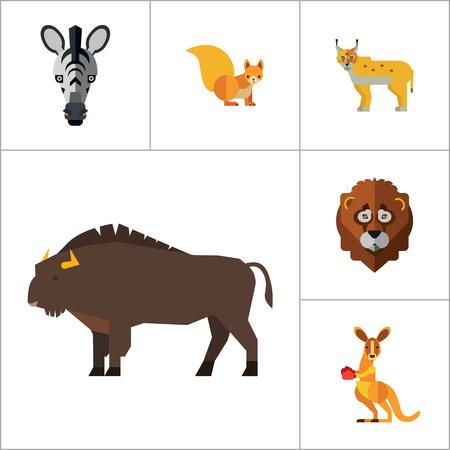 lynx: Animal Icon Set. Lynx Lizard Fox Hare Head Bear Koala Lion Face Red Squirrel Brown Moose Yak Kangaroo Boxer Mandrill Head Zebra Head Illustration