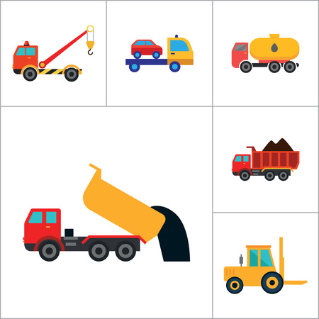 fork lifts trucks: Automotive icons set with car wheel, crane truck and fork lift truck. Thirteen vector icons