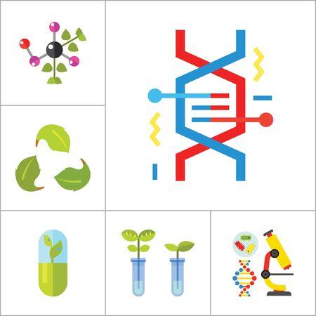 Icono de la biología Set. Estructura celular frasco de la prueba de tubo Productos En Escalas de calefacción del tubo de ensayo del Genoma Humano de la molécula de ADN plantas genéticamente modificadas a base de plantas Cápsula química experimento de Creative Reciclaje de la muestra