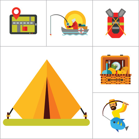 itinerary: Camping Icon Set. Camping Tent Caravan Axes Multitool Pliers Route Binocular GPS Fishing Rubber Boat Picnic Basket Man With Fish Campfire Illustration