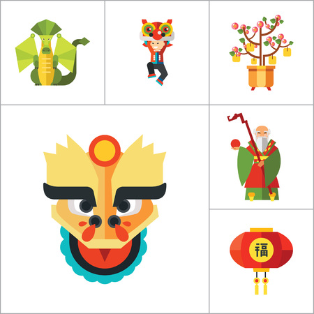 head wise: China Icon Set. Chinese Lantern Amulet With Coins Decorative Lantern Old Wise Man Dragons Head Dragon God Of Wealth Peach Tree Red Envelope Folding Fan Amulet With Knots Dragon Dancer