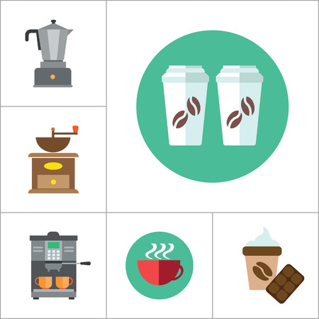 milling: Coffee Icon Set. Coffee Beans Coffee Machine Coffee Mill Coffee Maker Coffee And Chocolate Growing Beans Coffee Pot Turkish Coffee Pot Takeaway Cups Cappuccino Cup Disposable Coffee Cup Hot Coffee Illustration