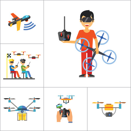 drone: Drones Icon Set. Drone Technology Drone Surveillance Drone Racing Delivery Drone USB Cable Drone Control Drone Camera Military Drone Man With Drone USB Port Illustration