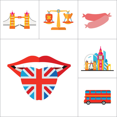 london tower bridge: England Icons Set. United Kingdom English Language Fish And Chips Dog London Bus Horse London Rain Canned Fish Sausages Scales London Tower Bridge Queen