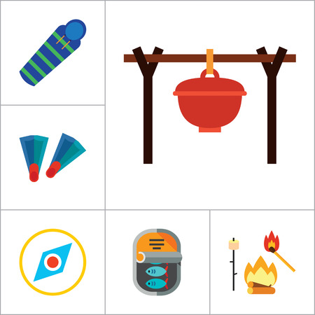 pocket knife: Fishing Icon Set. Summer Fishing Canned Fish Flippers Diving Mask And Snorkel Beach Camping Tent Campfire Fishing Rod Sleeping Bag Pocket Knife Compass Camping Pot