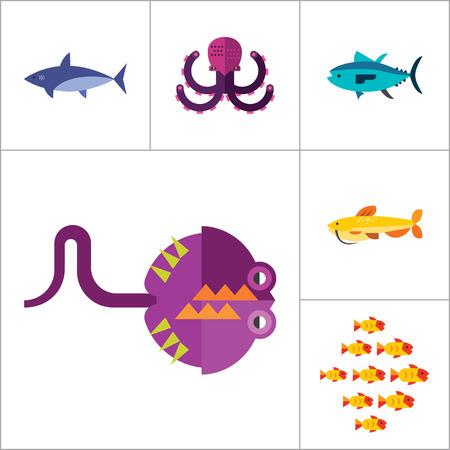 pez martillo: Icono conjunto de pescado. Piezas pulpo Dolphin Tiburón siluro pescado en conserva de atún pescado bajío Caviar Hammerhead mar de los pescados del patín del Goldfish