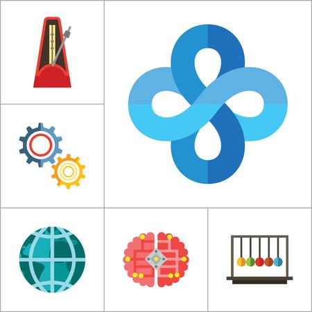 Matemáticas Grupo de iconos. Diagrama de cubos de ruedas de engranaje Dibujo metrónomo con péndulo Bolas de la colisión Globo Filosofía símbolo lógico Concepto Álgebra cable Inteligencia de la Fuerza de gravedad artificial