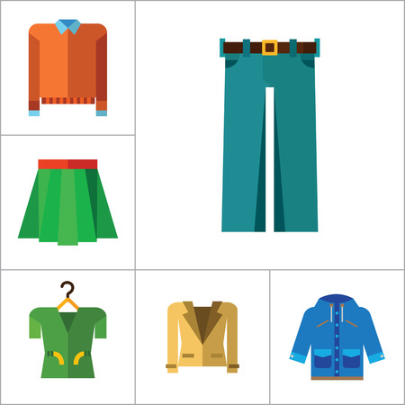 sweatshirt: Modern Clothes Icon Set. T-shirt Jeans Bow Tie Hoody Sweatshirt Trousers Pleated Skirt Orange Sweater Coat Beige Jacket Polo Shirt Blue Raincoat Green Jacket Clothes On Hanger