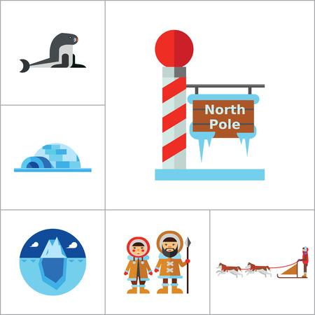 eskimos: North Pole Icon Set. Polar Bears Dogteam Eskimos North Lights North Pole Igloo Lumberjack Axes Iceberg Whale Walrus Ice Walrus Face Sea Calf