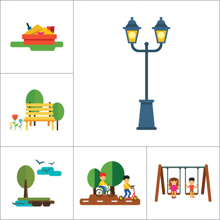 Park Icon Set. Winter Park Cycling In Park Sandbox Park Fountain Bicycle Parking Park Lamps Walking In Park Girls On Swing Park Bench Exercising Street Lamp Landscape With Tree And Lake