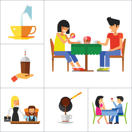 People And Coffee Icon Set. Hand With Coffee Takeaway Coffee Cup Rich Person Director Dinner Coffee On Napkin Coffee And Hands Pouring Milk Press Coffee Pot Waitress Drinking Coffee Pouring Coffee