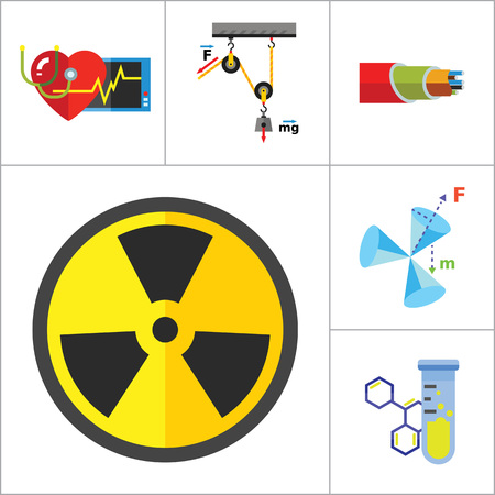 genetic engineering: Physics Icon Set. Galaxy Radiation Sign Substance In Test Tubes Flask Genetic Engineering Logic Concept Mathematics Algebra Chemistry Artificial Intelligence Cardiology Optic Cable