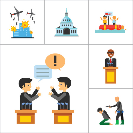 electorate: Politics Icon Set. Debates Politician Politics Leadership Vote White House Demonstration Election Electorate Refugees Hostage War Combat Illustration