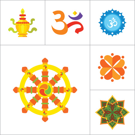 believer: Religion vector icons set with Om sign, Hamsa amulet and Holy Spirit dove. Thirteen flat icons