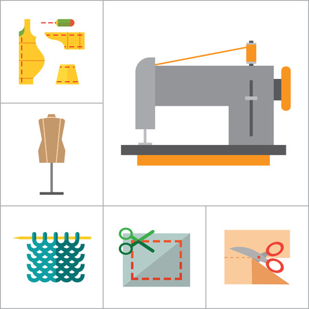 thirteen: Sewing icons set with sewing machine, yarn with knitting needles and sewing pattern. Thirteen vector icons Illustration