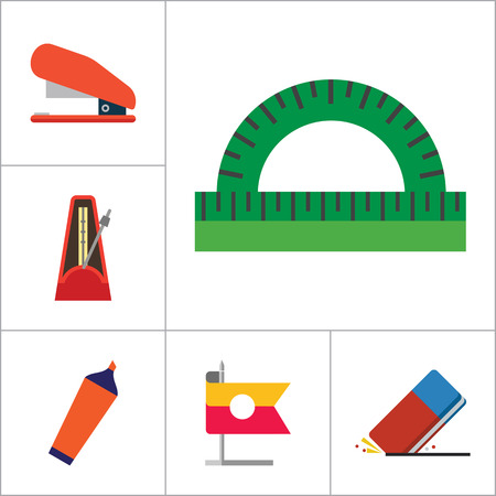 office stationery: Stationery vector icons set. Thirteen icons of collision balls, protractor, eraser and other office stationery Illustration