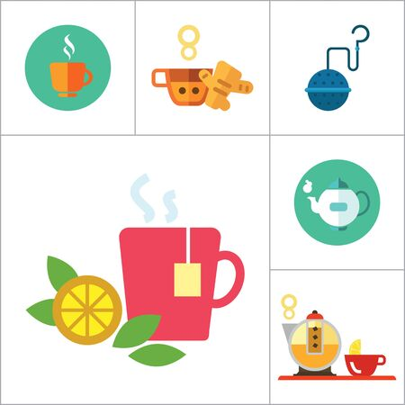thirteen: Tea icons set with teapot, tea cup and tea strainer. Thirteen vector icons